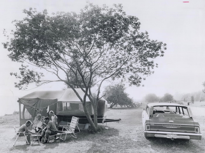 1971 - The Ken Roche family uses a camper trailer with an extra room to visit Presqu'ile Provincial Park