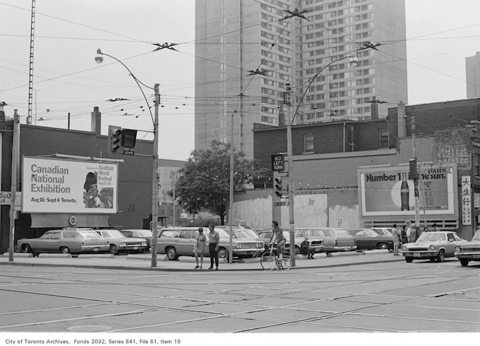 1972 - Corner of Bay St. and Dundas St., looking south-west