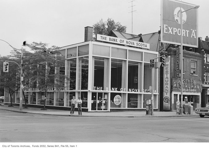 1972 - Corner of Spadina Ave. and Bloor St., looking north-east