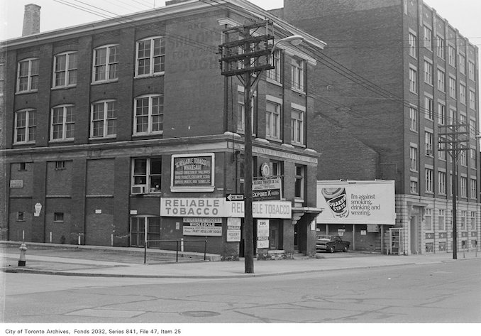 1972 - Corner of Spadina Ave. and Phoebe St., looking south-east