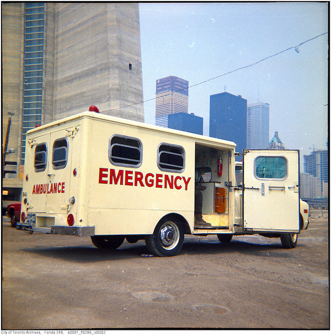 1975 - July 8 - ambulance at CN Tower fire
