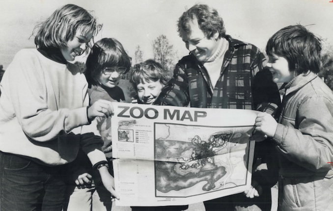 1976 - Mayor David Crombie, his sons, Jonathan, 10, and Robin, 11, and friends, Glenda Reid, 11, and David Ross, 8. Crombie's son want him to take over the zoo.