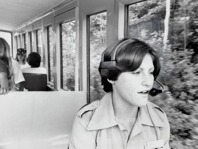 1976 - Train driver Patricia Farrell provided a vivid commentary - even about animals that haven't arrived; like the grizzly bears