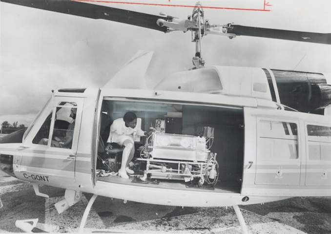 1977 - Colin McConnell - new helicopter announced by Ontario Health Ministry will be used to transfer patients within 115 miles of Toronto. The helicopters will be based in Buttonville airport
