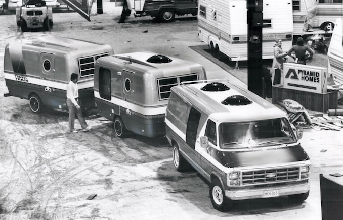 1978 - At the Future is provided by this camping at the Camping on Wheels Show at the CNE Automotive bulding this weekend. It comprises a towing van; a main travel-trailer and a caboose trailer