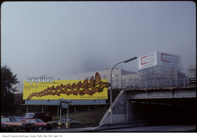 1982 - View of fog around billboard at Yonge and Lakeshore