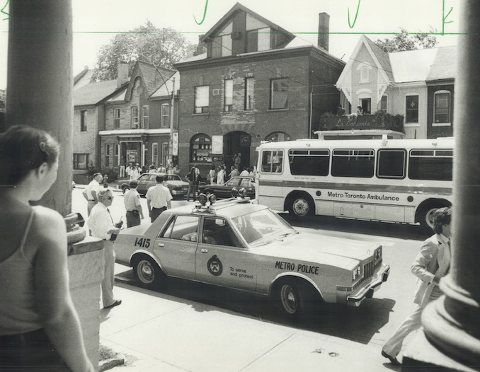 1983 - Don Dutton - An ambulance bus was on hand yesterday when Metro police, after a lengthy undercover investigation, raided Dr. Henry Morgentaler's abortion clinic on Harbord St. at 11.30 a.m.