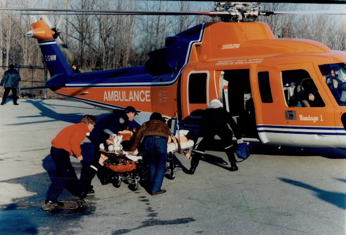 1996 - Henry Stancu - Ambulance crews load an injured man into an air ambulance yesterday at Black Creek Pioneer Village at Jane St. and Steeles Ave.