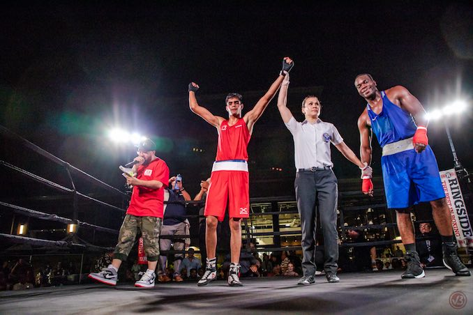 Sunny Thind (Canadian National boxer) won a unanimous decision against USA boxer, Lawrence King with the third 'man' in the ring as AIBA International Boxing Referee, Jennifer Huggins