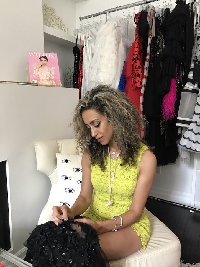 Toronto fashion designer NARCES - Putting the last hand-beaded touches on a custom gown