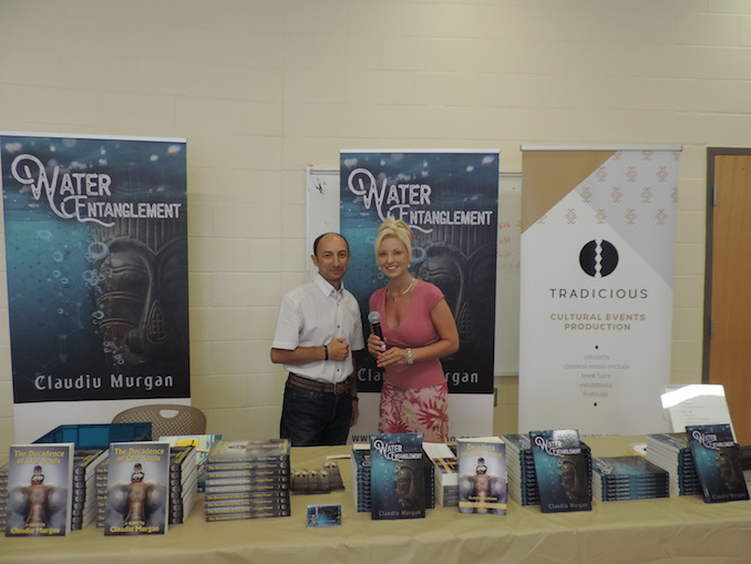 Claudiu Murgan - At the launch of 'Water Entanglement' with my MC, Lisa Berry of 'Light on Living' Radio Show