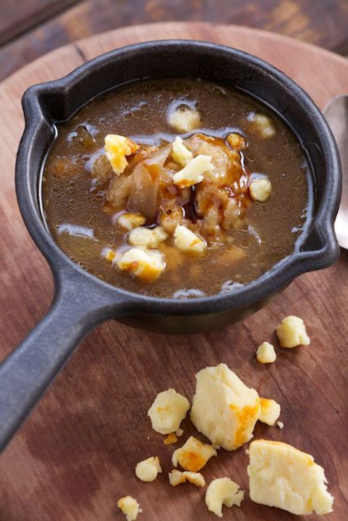 Fire Roasted Onion Soup with Smoked Apple Wood Cheddar Dumplings