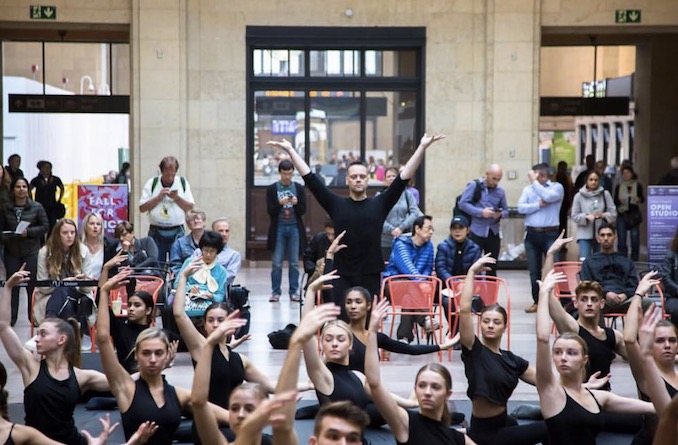 Me teaching a modern dance class with the Ryerson students at Union Station as part of the Fall for Dance North Festival 2018 (photo: Marlowe Porter)