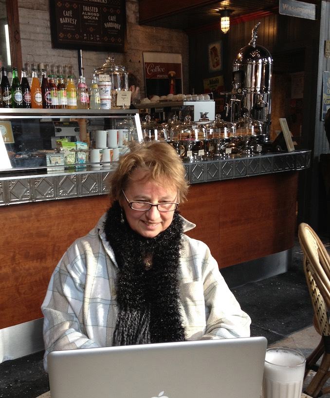 Nina Munteanu - Nina writes her next book at a local indie café