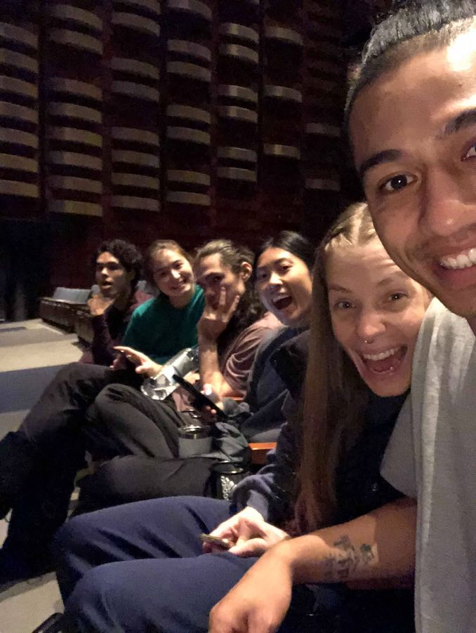 The cast of Red Sky Performance about to start tech rehearsal for Adizokan at the Sony Centre as part of Fall for Dance North in October 2018. (Left to right: Cameron Fraser-Monroe, me, Jera Wolfe, Julie Pham, Lonii Garnons-Williams, and Eddie Elliot.)
