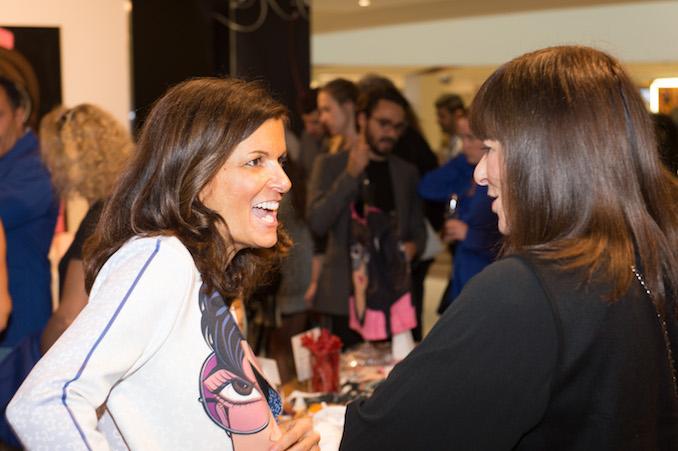 Michelle chatting with fashion icon Jeanne Beker about her new fashion line at her WIDE BIG EYES pop-up in Yorkville Village.