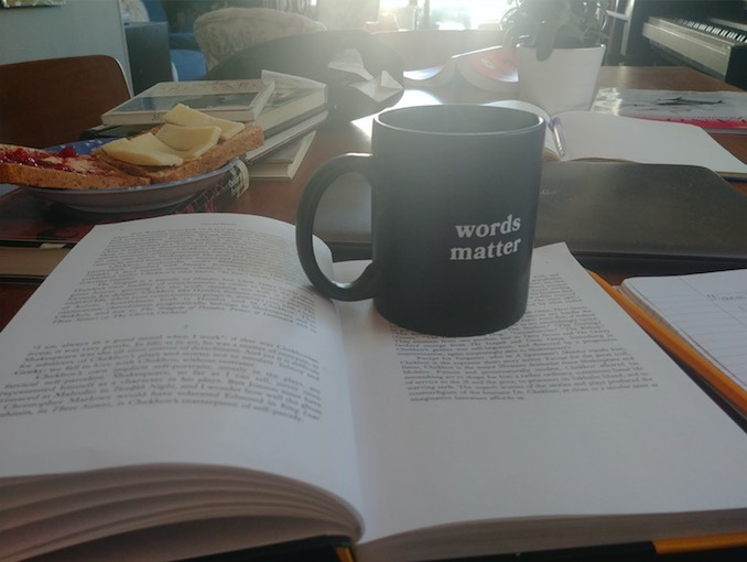 Morning. Coffee. A book. Toast.