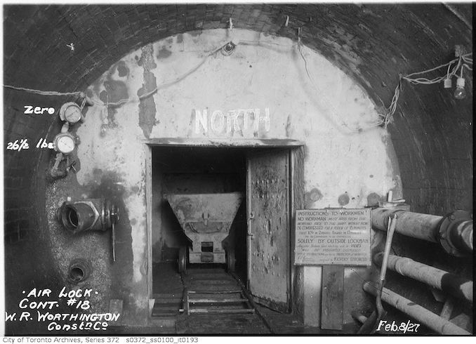 1927 - Sewers, air lock, contract 18, W. R. Worthington Construction Company