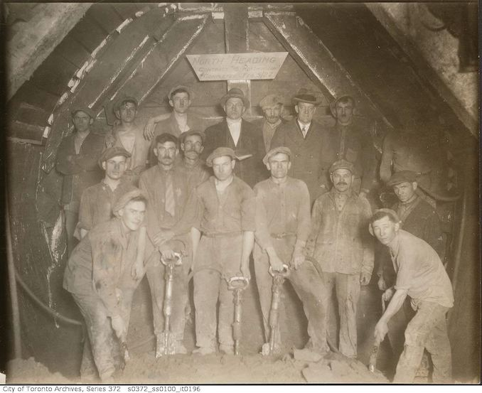 1927 - Sewers, north heading completed - workers, contract 18, Worthington copy