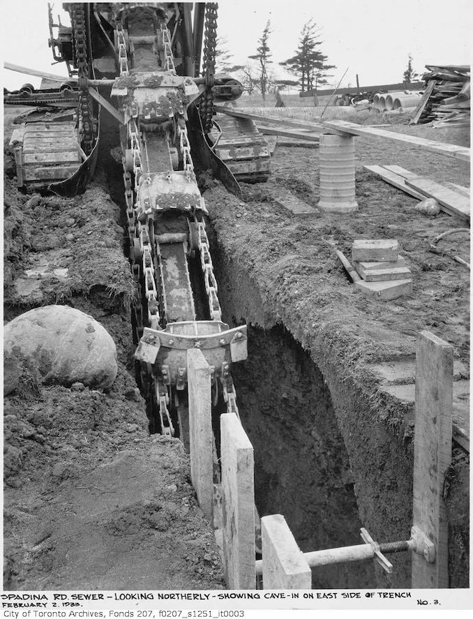 1933 - Spadina Rd. sewer, looking northerly, showing cave-in on east side of trench