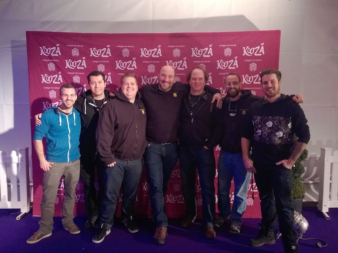 "Cirque du Soleil's KOOZA Lighting crew on the ""Purple Carpet"" for our Premiere at Royal Albert Hall in London"