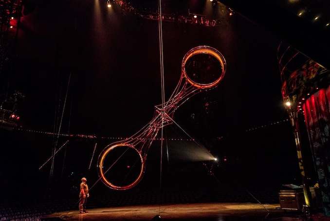 "Cirque du Soleil's KOOZA while calling Lighting focus on the ""Wheel of Death"" for Kooza by Cirque du Soleil."