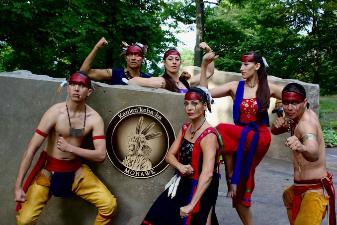 Kaha:wi Dance Theatre cast of The Honouring opening the Landscape of Nations - The Six Nations and Native Allies Commemorative Memorial, Queenston Heights, ON