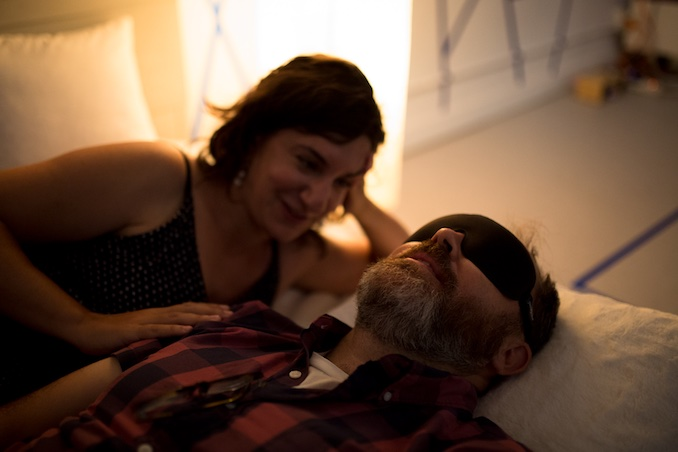 I was lucky enough to perform in Re:Current Theatre's production of The Smile Off Your Face (2017). I got to have intimate chats with around 300 blindfolded people while lying down on a bed. Here's my husband Chris experiencing the show. Photo by Marlow Porter. (http://www.recurrenttheatre.com/the-smile-off-your-face.html)