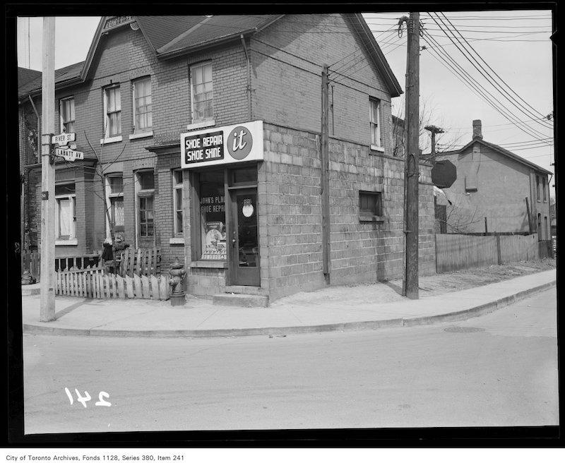 1950? - Shoe repair shop at corner of River Street and Labatt Avenue