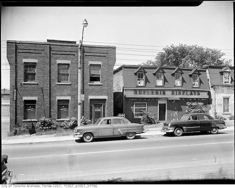 1953 - Orpen Properties, Dufferin Display Ltd., neon sign manufacturers, 918 Dufferin Street, west side, and Everett and Barron of Canada Ltd., and Cinderella Shoe Dressings, 914 Dufferin Street, west side