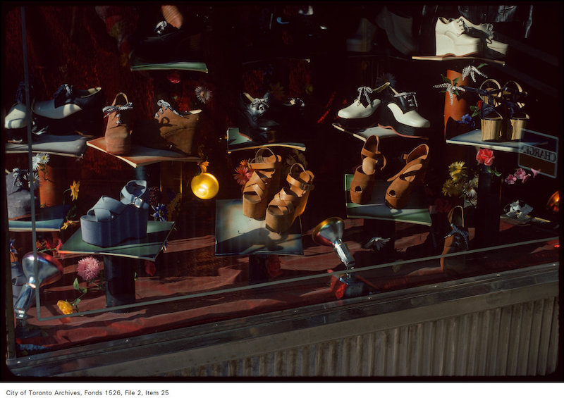 1975 - june 4 - View of shoe store window display on the west side of Yonge Street, north of Wellesly copy