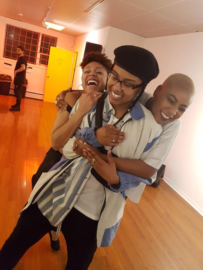 Also being bombarded with hugs by my friends after the opening reception of my first solo show