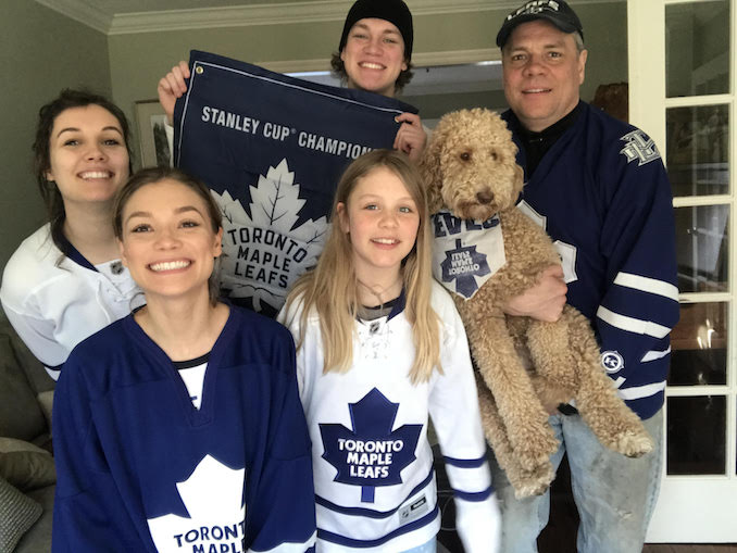 Best family ever Showing support for our favourite hockey team! Featuring Holly Williamson, Ricky Williamson, Stewart Williamson, Samantha Williamson, Daisy Williamson. Not pictured- Diane Williamson (mom)
