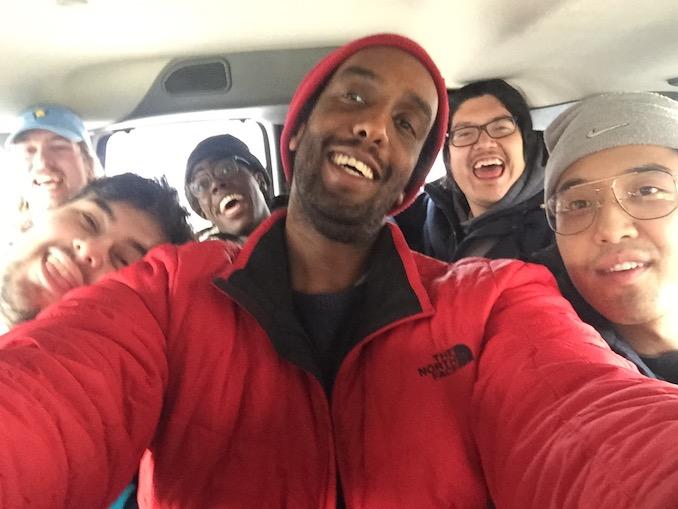 Here I am, going on a field tripwith my sketch crew, TallBoyz II Men!