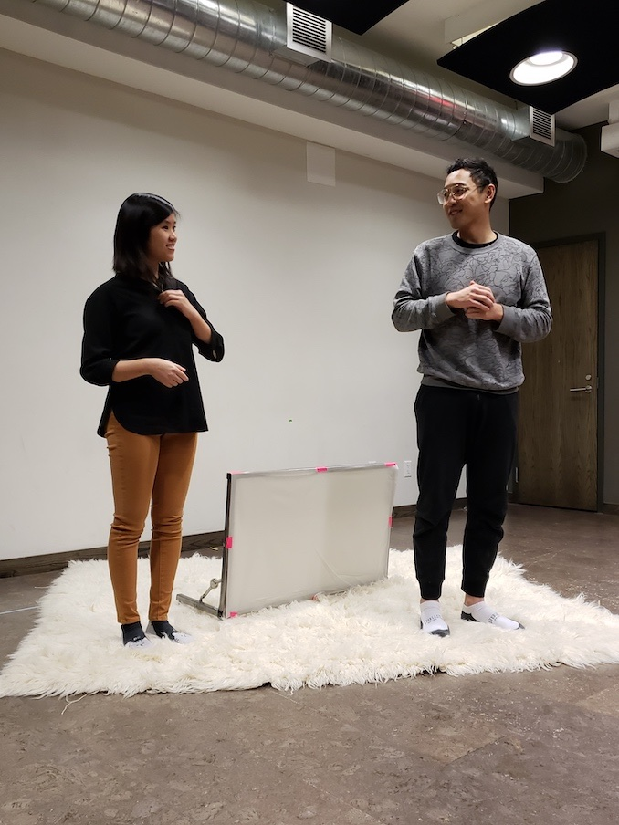 Rehearsing with Michelle Chung, the Deaf interpreter for our integrated ASL-interpreted performances ofGood Morning, Viet Mom.