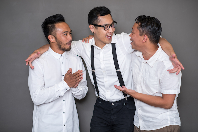 Soaring Skies Collective (Darrel Gamotin, Franco Nguyen, Byron Abalos) during a photo shoot as Cahoots' artists-in-residence (photo by Dahlia Katz).