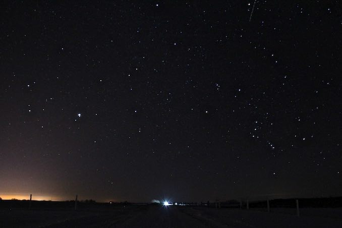 The night sky view from my childhood bedroom window, taken at my family farm near Melville, Saskatchewan.
