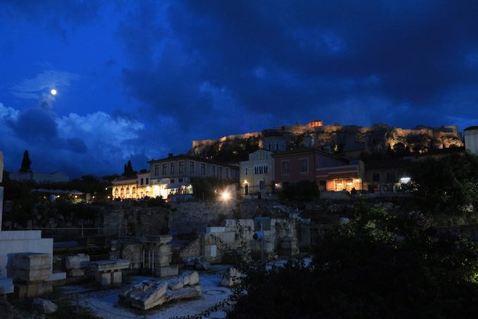 Nightfall in Athens, Greece where I vacationed last summer. A bucket list trip!