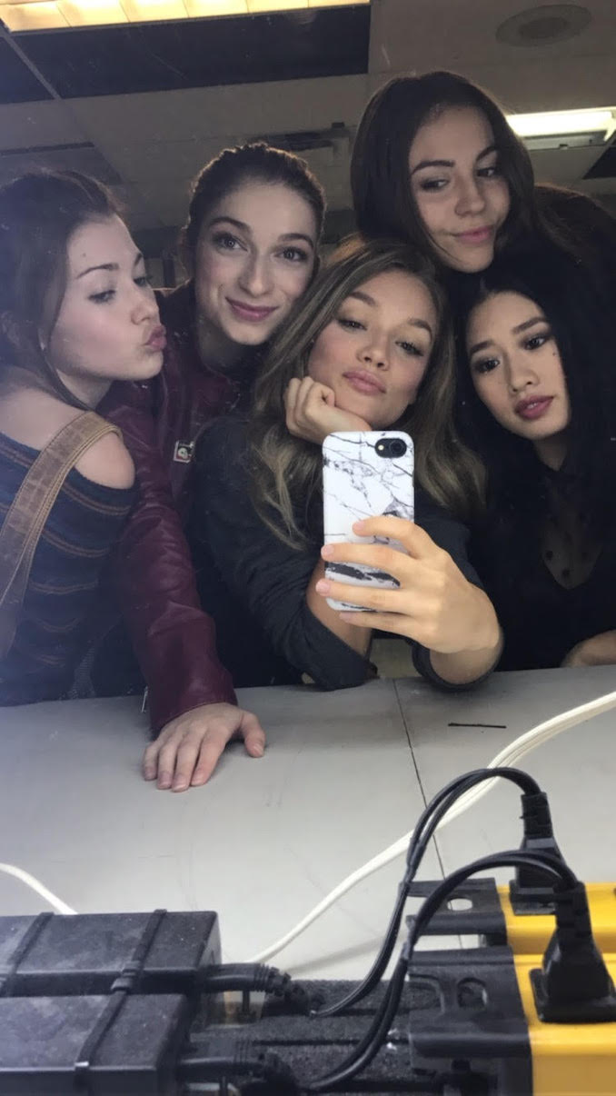 Shameless selfie on the set of Level 16 with co stars Katie Douglas, Sydney Meyer, Joelle Farrow, and Celina Martin