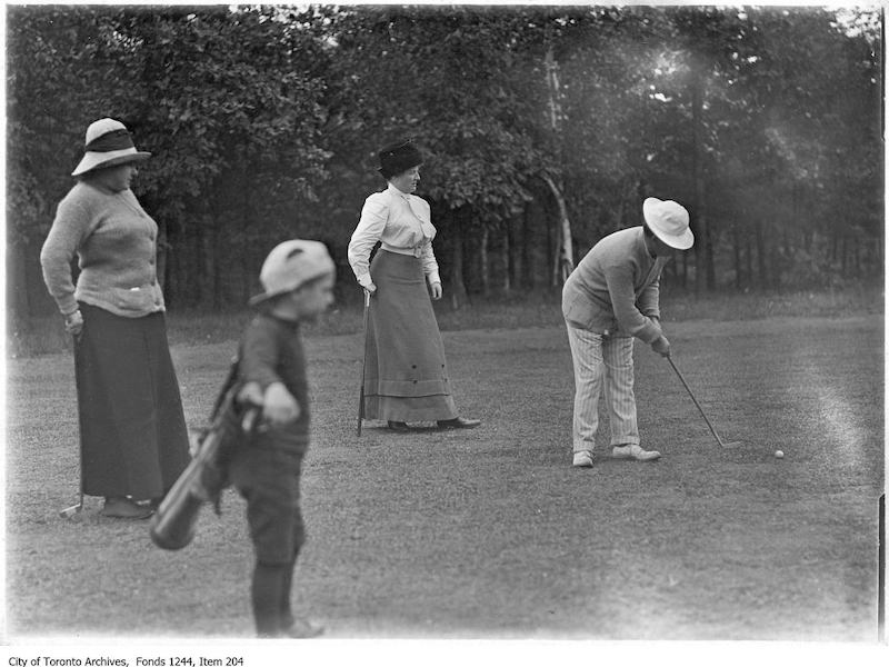 1907 - Golfers and caddy - old golf photographs in toronto