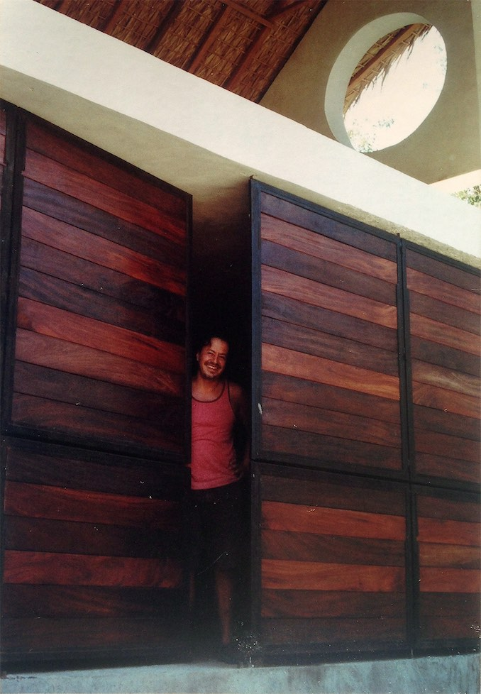 Testing the door at my still-under-construction house in Mazunte, Mexico.