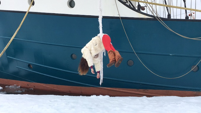Anchored to a northern ice pack in the arctic, rigged off a tall ship for the Arctic Circle Residency working on Melting, Mourning and A Series of Impossible Tasks (photo Justin Levesque)