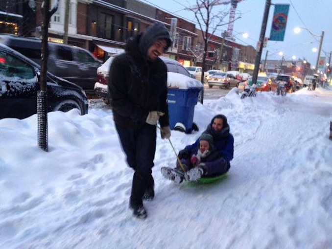 Me as husky: pulling Aviva and Huxley through the Toronto snow.
