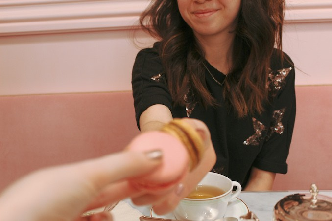 Celebrating Galentines Day with a rose macaron and my best friend, actress Cynthia Ritchie. She's the orange pekoe to my earl grey, the milk to my sugar, the Alice to my Pixie.