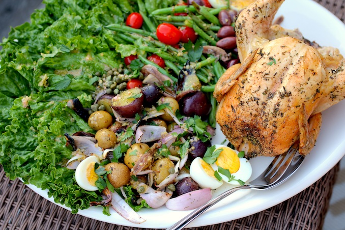 White Wine Grilled Chicken with Grilled Niçoise Salad Recipe