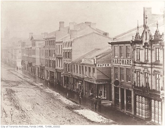 1856 - King Street East, south-side between Yonge and Church streets, looking east