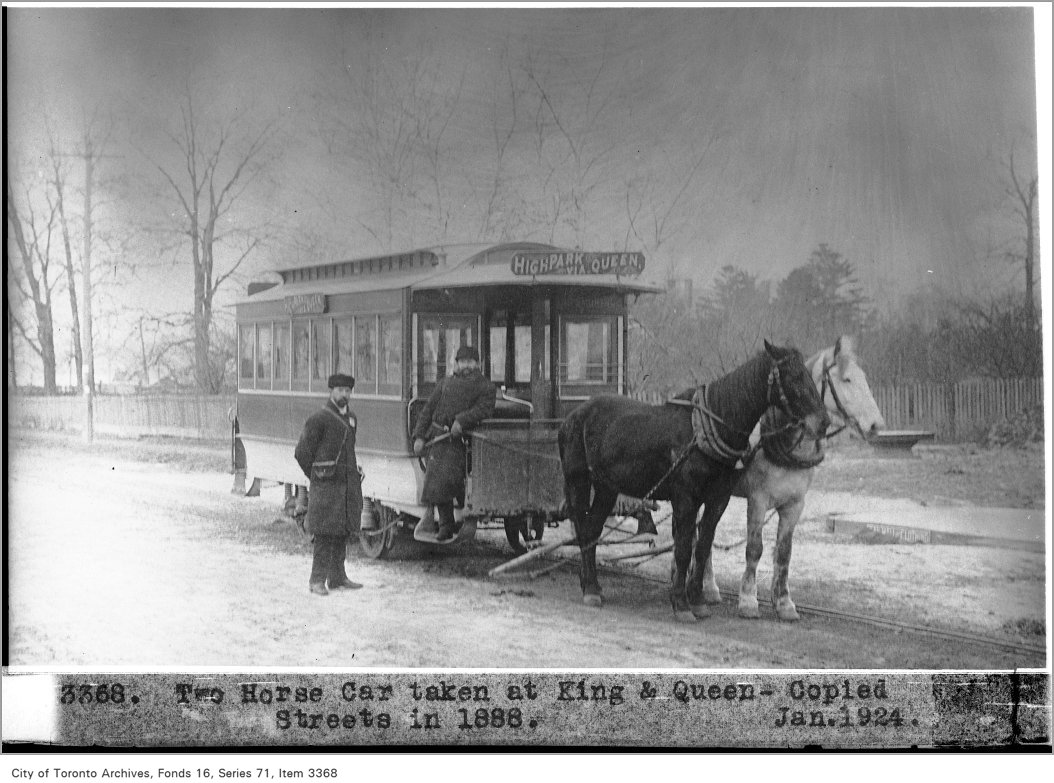 1888 - Two horse car, taken at King and Queen Sts