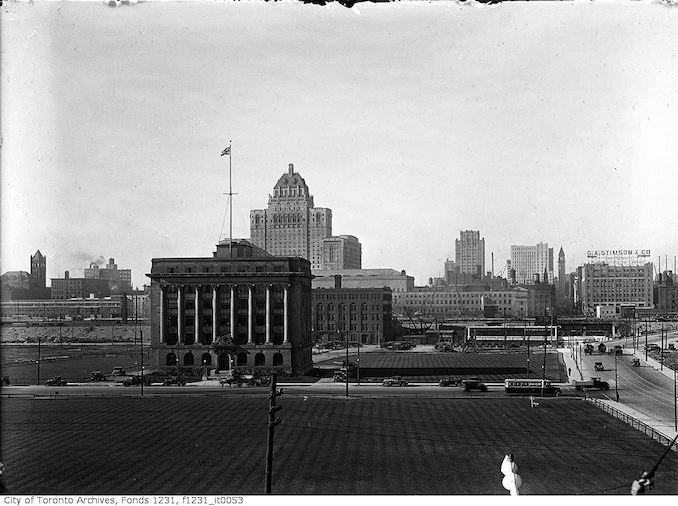 1919 - September 10 - Aerial view of Toronto from south of Toronto Harbour Commission building - King St. East at Bay Street