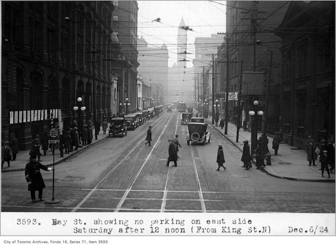 1924 - Bay St, showing no parking, on east side, Saturday, after 12 noon