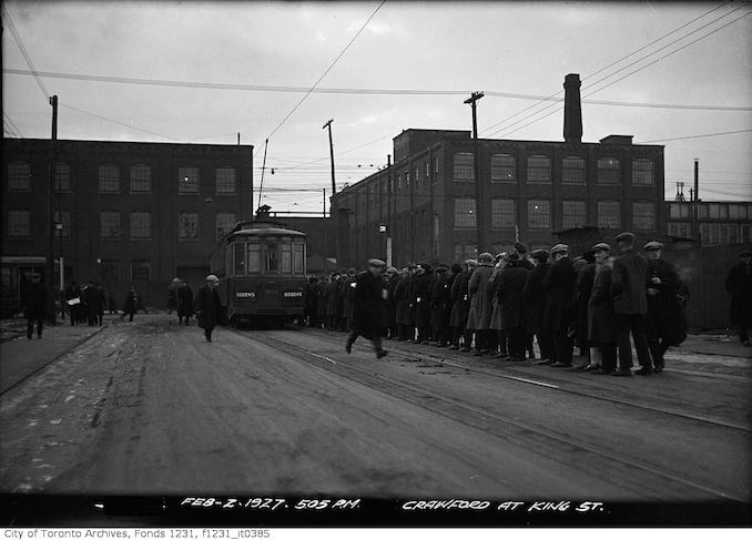 1927 - February 2 - Crawford Street at King Street 505pm Streetcar line up